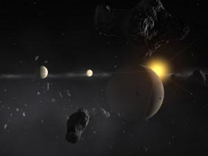 Imagem artística de um sistema exoplanetário. Crédito: ESO