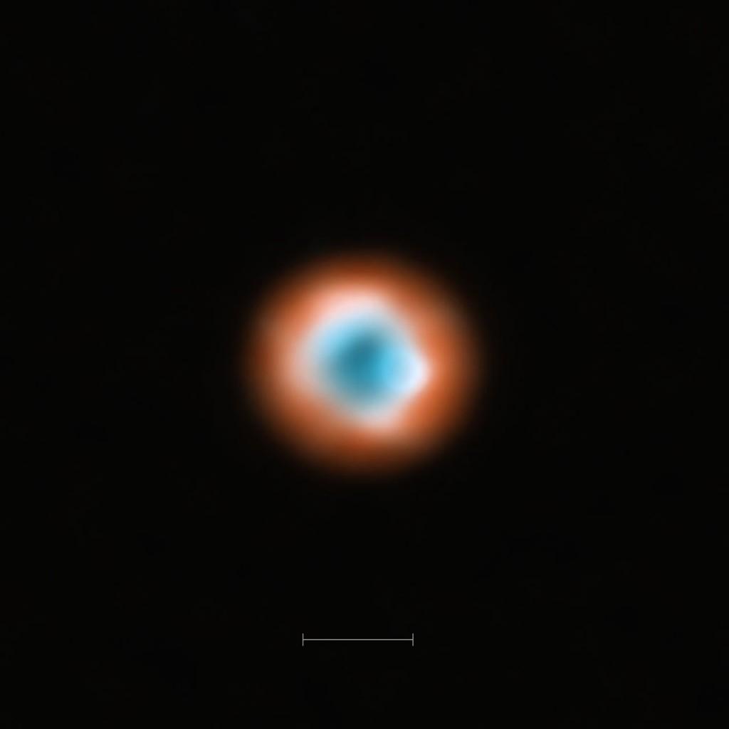 Esta image combina uma vista da poeira situada em torno da jovem estrela DoAr 44 (a laranja) com uma imagem do material gasoso (a azul). O buraco mais pequeno no gás interno informa-nos da presença de um jovem planeta a limpar o disco. Créditos: ALMA (ESO/NOAJ/NRAO)