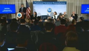 """""""We have detected gravitational waves. We did it!"""" An elated David Reitze, executive director of LIGO, announces the result in the February 11th press conference."""