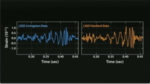 These are the actual gravitational waves detected by LIGO, first at Livingston then a fraction of a second later, in the Hanford detector. LIGO