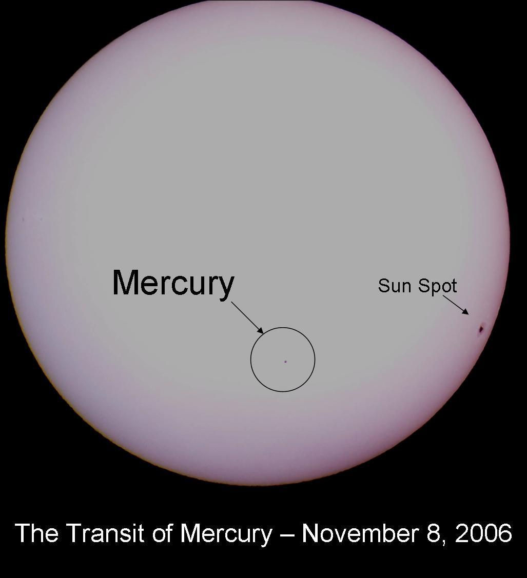 Aspecto do transito de Mercúrio observado em 8 de Novembro de 2006 - Créditos: Eric S. Kounce (West Texas Astronomers)