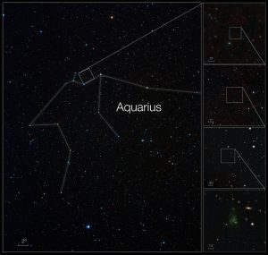 Esta sequência de imagens faz-nos aproximar de um dos maiores objetos conhecidos no Universo, a Bolha de Lyman-alfa LAB-1. Observações obtidas com o VLT do ESO mostraram pela primeira vez que esta bolha gigante deve estar a ser alimentada por galáxias embebidas no seio da nuvem. A imagem da esquerda mostra uma vista de grande angular da constelação do Aquário. As duas imagens em cima à direita foram criadas a partir de fotografias tiradas através de filtros azuis e vermelhos e fazem parte do Digitized Sky Survey 2. As duas imagens embaixo à direita foram obtidas com a câmara FORS montada no VLT. Créditos: ESO/A. Fujii/M. Hayes and Digitized Sky Survey 2
