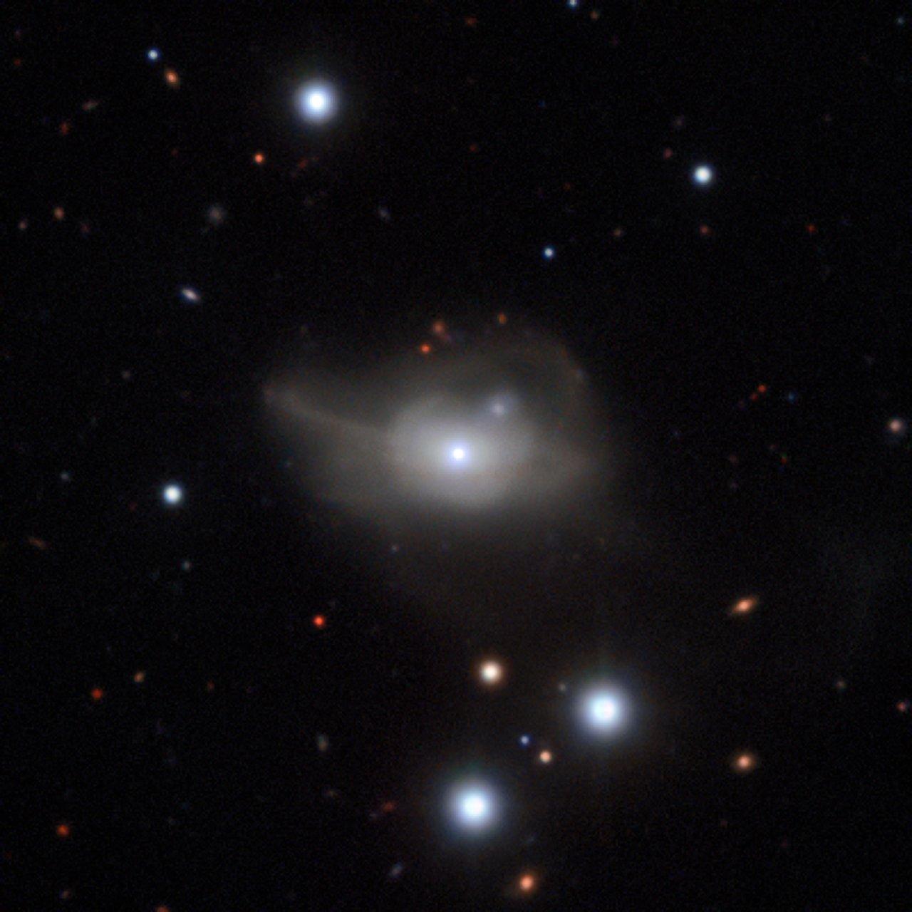 Esta imagem, obtida com o instrumento MUSE montado no Very Large Telescope do ESO, mostra a galáxia ativa Markarian 1018, a qual possui um buraco negro supermassivo no seu núcleo. Os ténues laços de luz são o resultado da sua interação e fusão com outra galáxia, num passado recente.